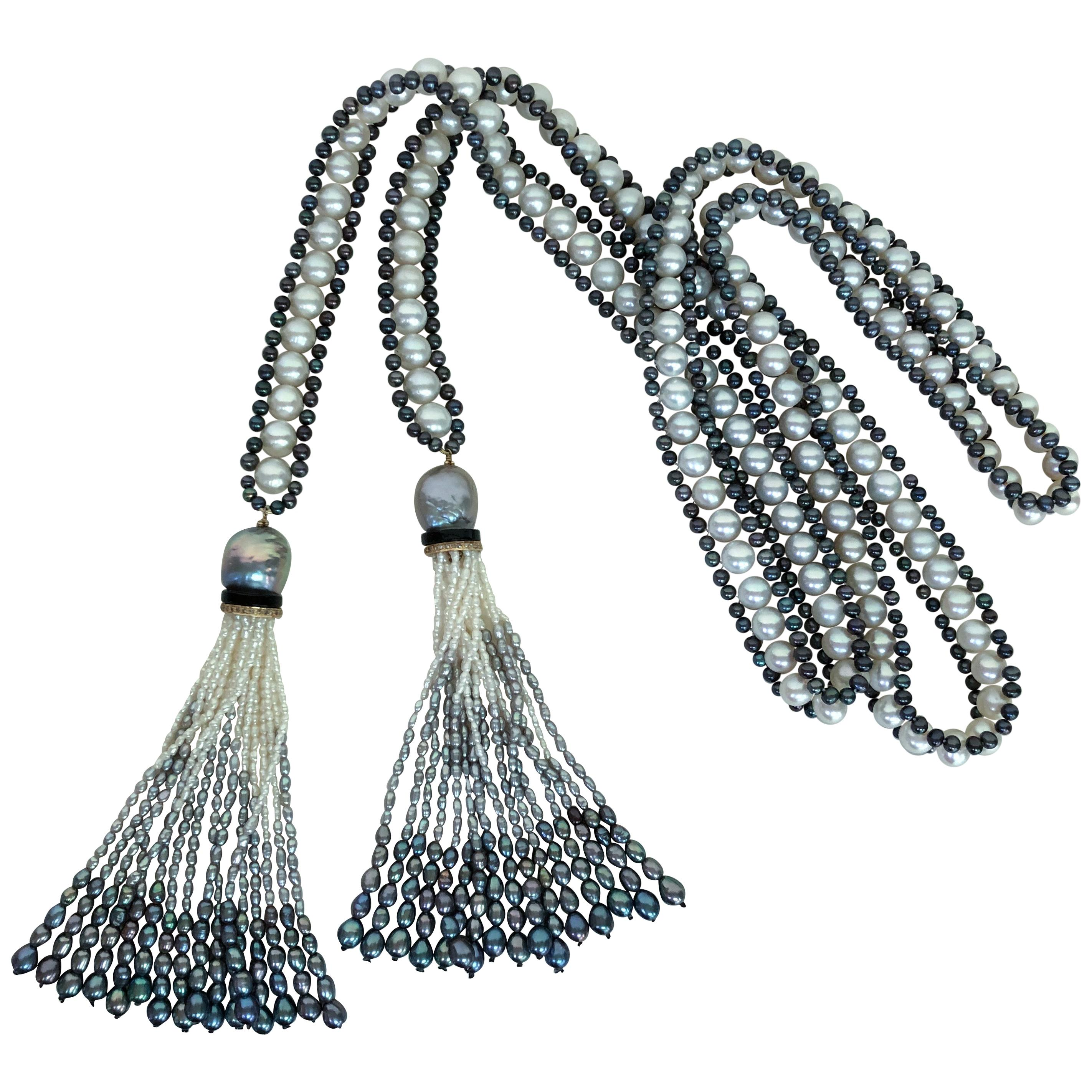 Marina J. White, Black and Grey Pearl Sautoir with Ombre Graduated Tassels
