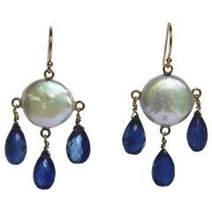 Marina J White Coin Pearl and Kyanite Drop Earrings and 14 Karat Gold Hooks