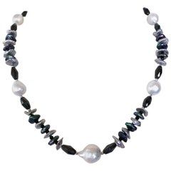 Marina J. White Grey and Black Pearl Necklace with Black Spinel and Silver Beads