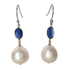 Marina J White Pearl and Kyanite Drop Earrings with 14 Karat White Gold Hooks