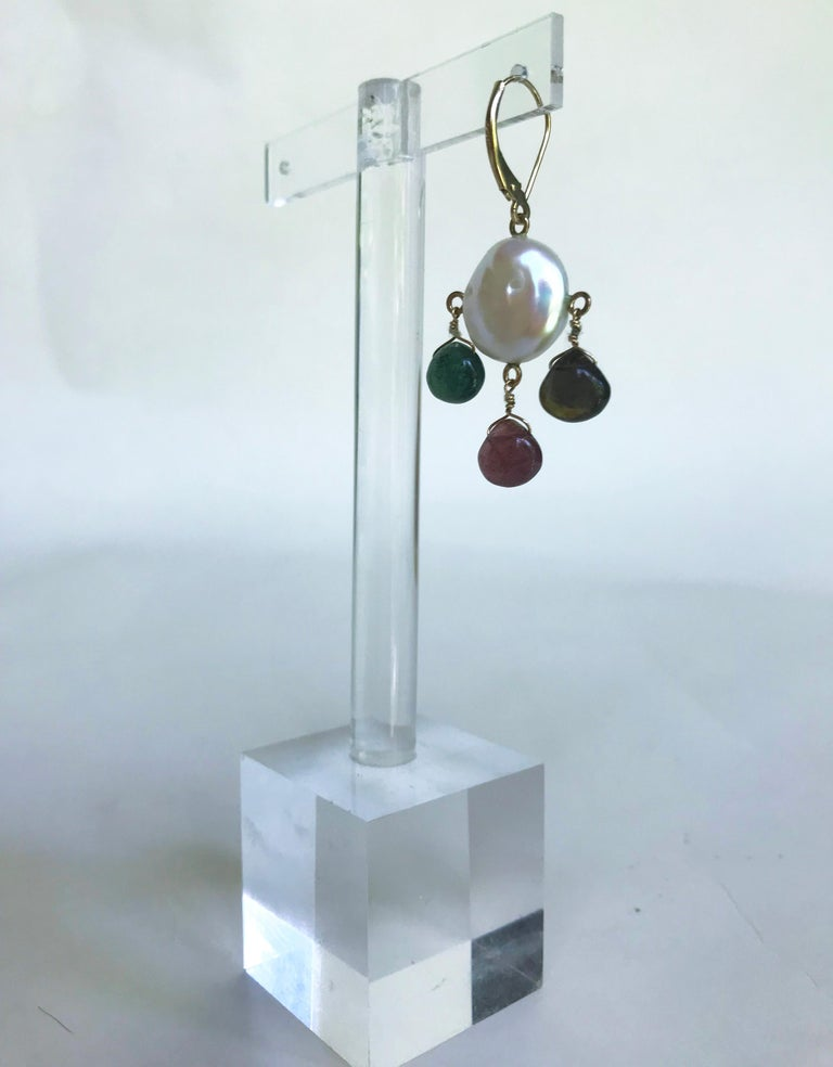 Artist Marina J White Pearl Coin Earrings & Multicolored Tourmaline Drop Beads 14k Gold For Sale