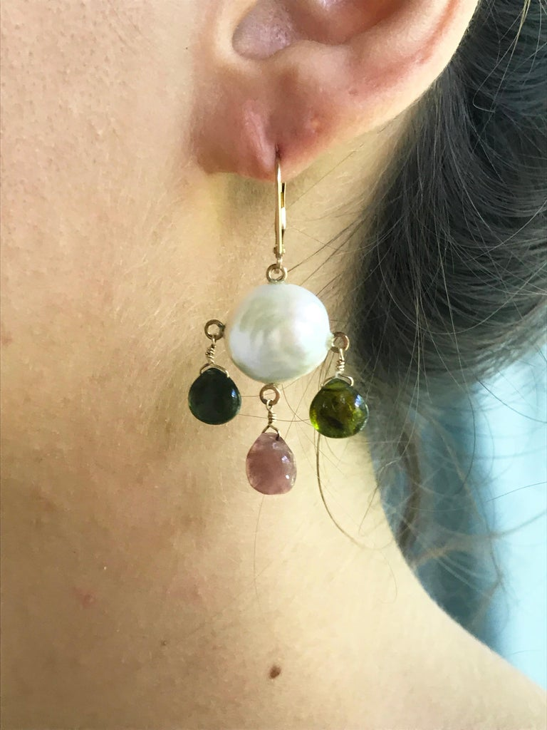 Marina J White Pearl Coin Earrings & Multicolored Tourmaline Drop Beads 14k Gold In New Condition For Sale In Beverly Hills, CA
