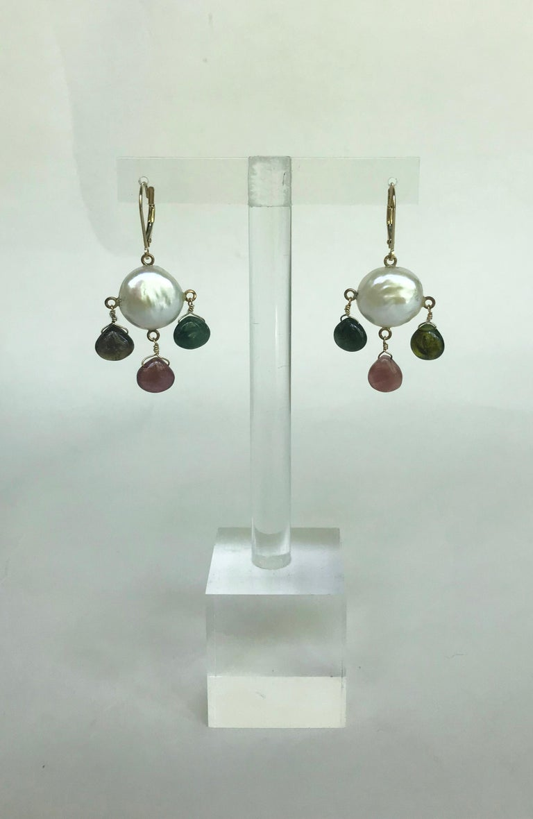 Marina J White Pearl Coin Earrings & Multicolored Tourmaline Drop Beads 14k Gold For Sale 1