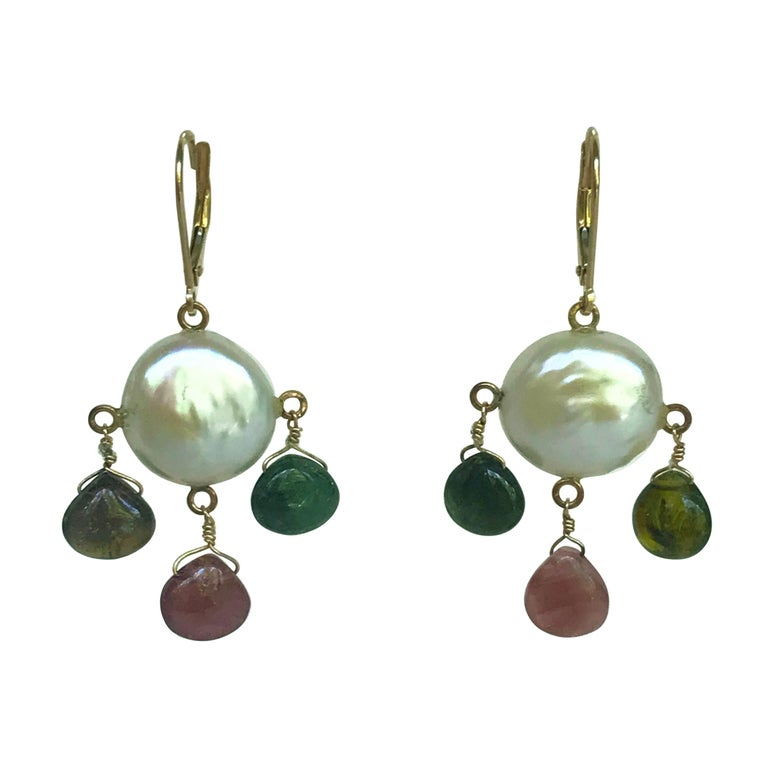 Marina J White Pearl Coin Earrings & Multicolored Tourmaline Drop Beads 14k Gold For Sale