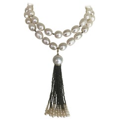 Marina J. White Pearl Sautoir with Diamond Encrusted Tassel and 14k Gold Clasp
