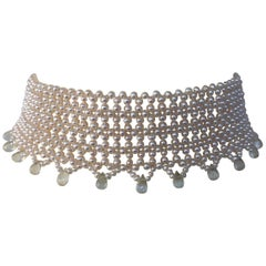 Marina J. Wide Woven Pearl Choker with Rock Crystal Briolettes and Sliding Clasp