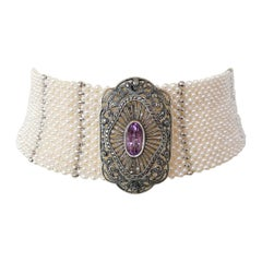 Marina J. Wide Woven Pearl Choker with Vintage Silver Brooch and Unique Clasp