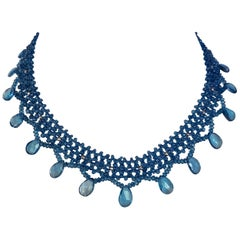 Marina J Woven Blue London Topaz with Briolettes & Faceted Sterling Silver Beads