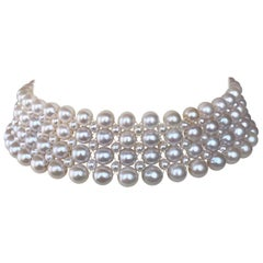 Marina J. Woven Four Strand Pearl Choker with Rhodium Plated Silver Clasp