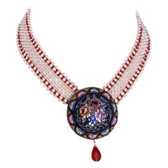 Marina J. Woven Pearl and Carnelian Necklace with Mosaic Centerpiece and Coral