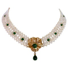 Marina J Woven Pearl and Emerald Necklace with Vintage Gold Centerpiece / Clasp