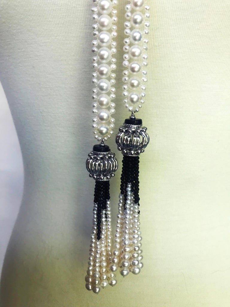 Marina J Woven Pearl and Onyx Sautoir with Silver Bead, Spinel and Pearl Tassels For Sale 1