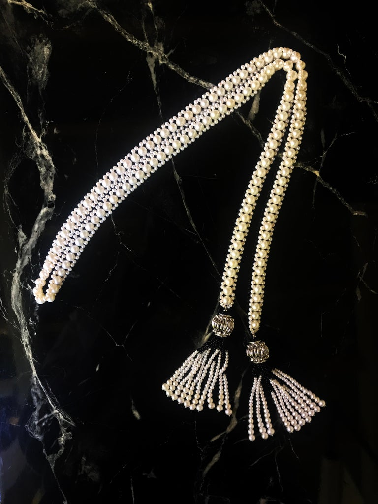 Marina J Woven Pearl and Onyx Sautoir with Silver Bead, Spinel and Pearl Tassels For Sale 2