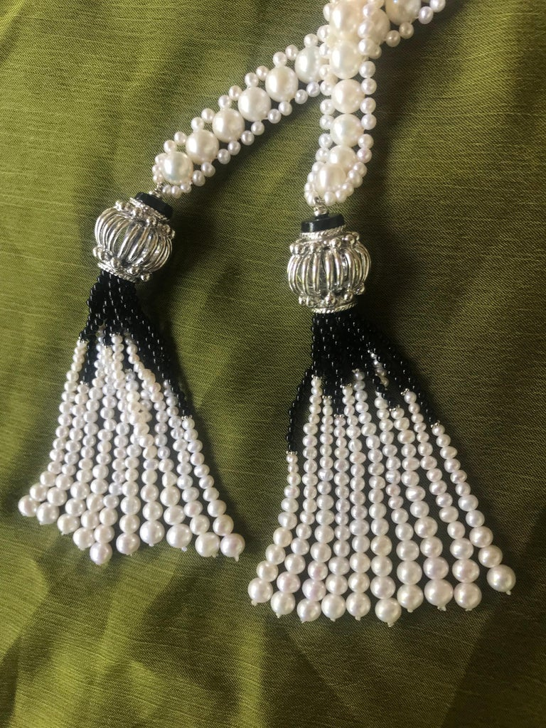 Marina J Woven Pearl and Onyx Sautoir with Silver Bead, Spinel and Pearl Tassels For Sale 4