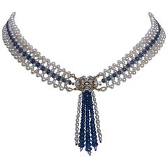 Marina J. Woven Pearl and Sapphire Necklace with Diamond Centerpiece & 14K Gold