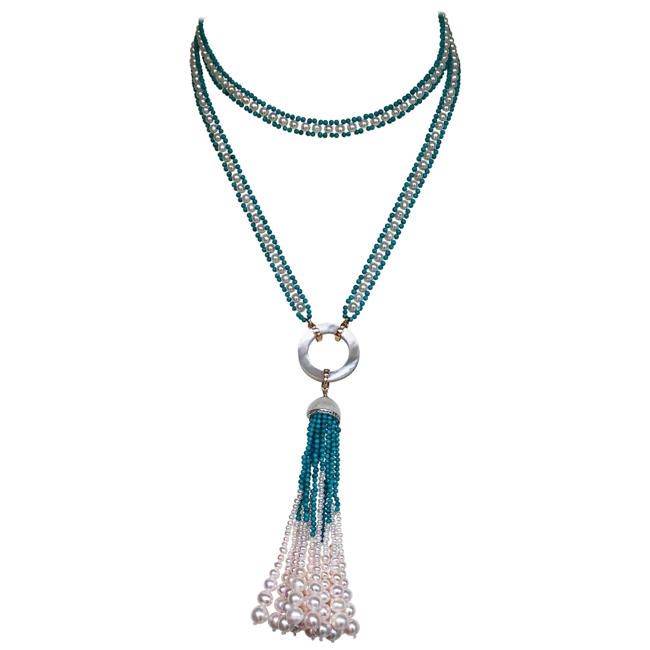 Marina J. Woven Pearl and Turquoise Beaded Sautoir with Graduated Pearl Tassel