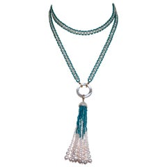 Marina J. Woven Pearl and Turquoise Beaded Sautoir with Graduated Pearl Tassel