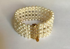 Marina J. Woven Pearl Cuff Bracelet with Gold-Plated Sterling Silver Clasp
