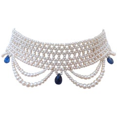 Marina J. Woven Pearl Draped Choker Necklace with Royal Bluye Kyanite Briolets