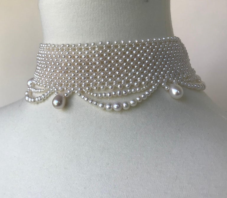 Artist Marina J. Woven Pearl Draped Choker Necklace with Sterling Silver Clasp For Sale