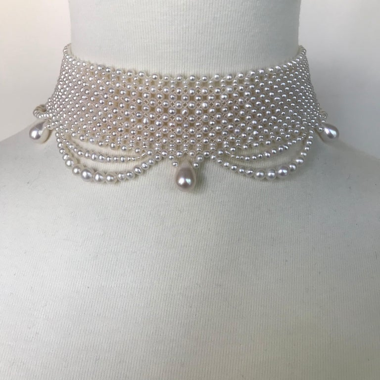 Marina J. Woven Pearl Draped Choker Necklace with Sterling Silver Clasp In New Condition For Sale In Beverly Hills, CA