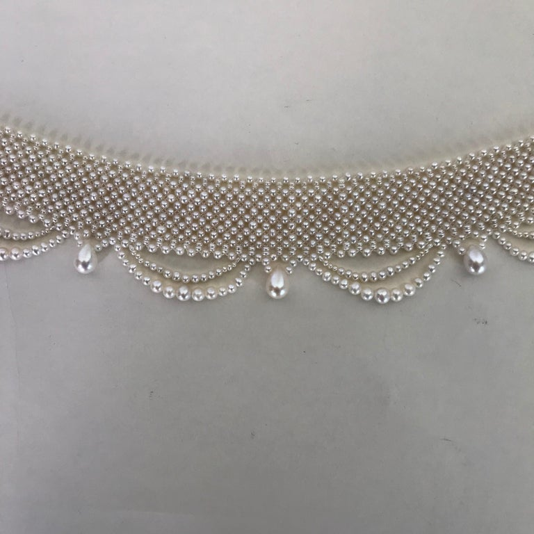 Marina J. Woven Pearl Draped Choker Necklace with Sterling Silver Clasp For Sale 3
