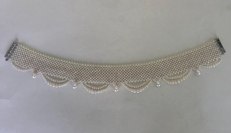 Marina J. Woven Pearl Draped Choker Necklace with Sterling Silver Clasp For Sale 4