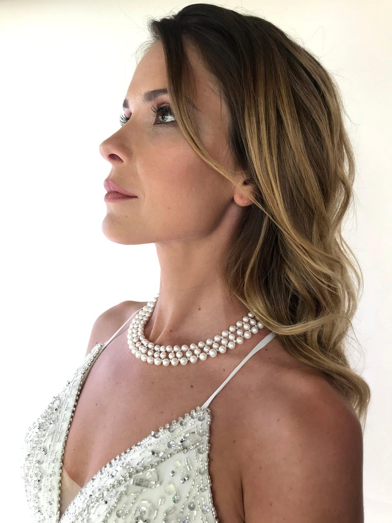 Marina J Woven Pearl Necklace with 14 K White Gold Faceted Beads and Clasp For Sale 5