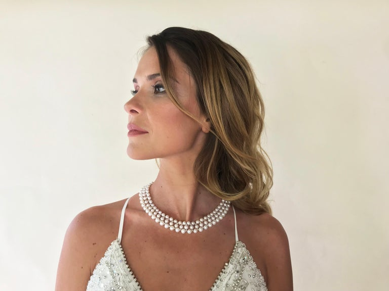 Marina J Woven Pearl Necklace with 14 K White Gold Faceted Beads and Clasp For Sale 4
