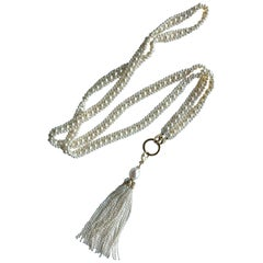 Marina J. Woven Pearl Necklace with 14k Gold Ring and Removable Pearl Tassel