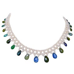 Marina J. Woven Pearl Necklace with Colored Stones and 14 Karat Gold Clasp