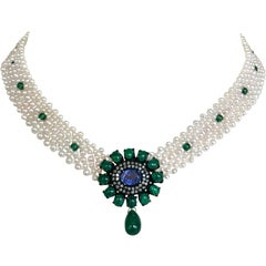 Marina J. Woven Pearl Necklace with Emeralds, Iolite, Pearls and Diamonds