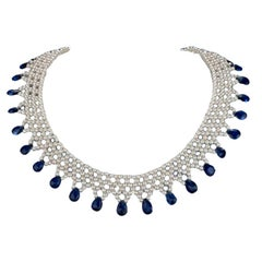 Marina J. Woven Pearl Necklace with Kyanite Briolets and 14 Karat Gold Clasp