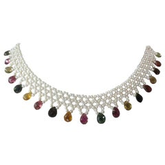 Marina J Woven Pearl Necklace with Tourmaline Brioletts and 14 Karat Yellow Gold
