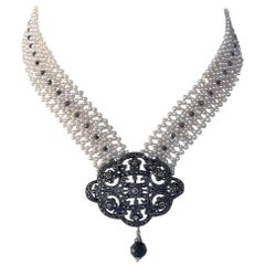 Marina J. Woven Pearl Necklace with Vintage Silver Centerpiece and Black Spinnel