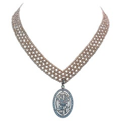 """Marina J. Woven Pink Pearl """"V"""" Necklace with 14k White Gold-Plated Sliding Clasp"""