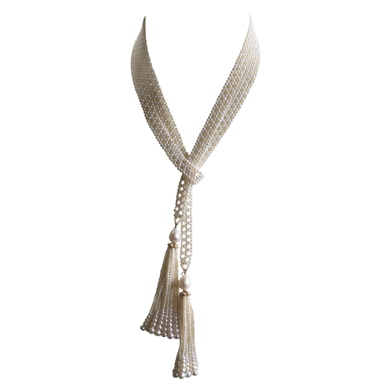 Marina J. Long Woven Pearl Sautoir Necklace ,Graduated Tassels, 14k Yellow Gold