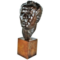 Marina Núñez del Prado, Head, Patinated Bronze Sculpture, 1930s
