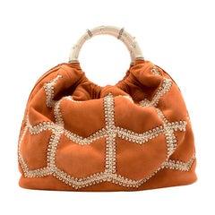 Marina Raphael SIENNA Terracotta Crochet Suede Bag
