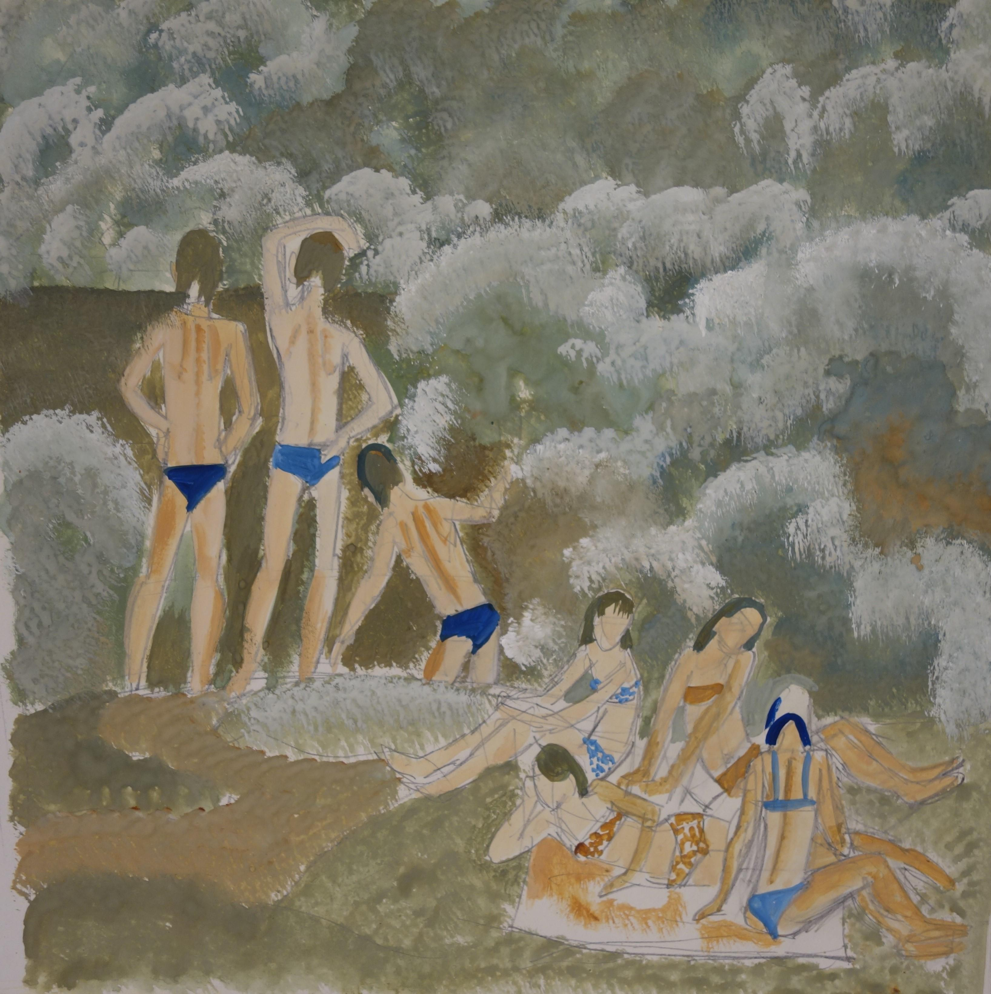 """Bathers"" Water,River,Summer,Russian  cm . cm. 30 x 30 gouache  1976"