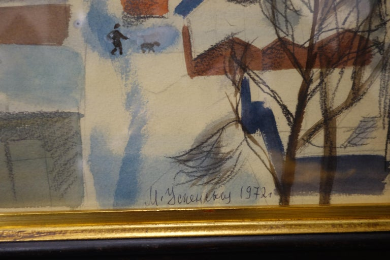 Winter,Snow in the town,Yellow ,Grey,Blue,Town Landscape,Russian Art,Soviet Marina Evgenevna USPENSKAYA (Moscow, 1925 – 2007)  Marina Evgenevna Uspenskaya was born in Moscow. She graduated from the 1905 Art College, where she studied theatre and