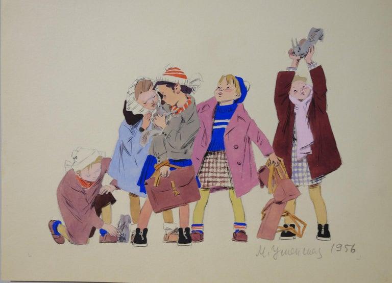 "Marina Yevgenyevna Uspenskaya Figurative Painting - ""Squirrels""  cm . 20 x 27  watercolor 1956"