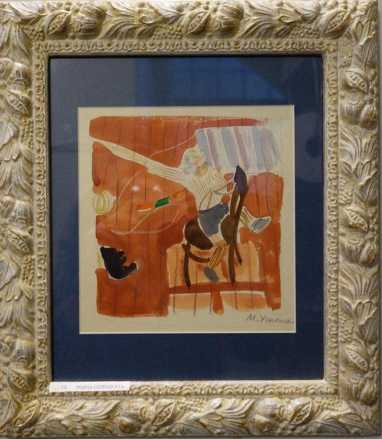 "Marina Yevgenyevna Uspenskaya Figurative Art - ""The little knight "" Child, games, childhood    cm . 20 x 17  watercolor"