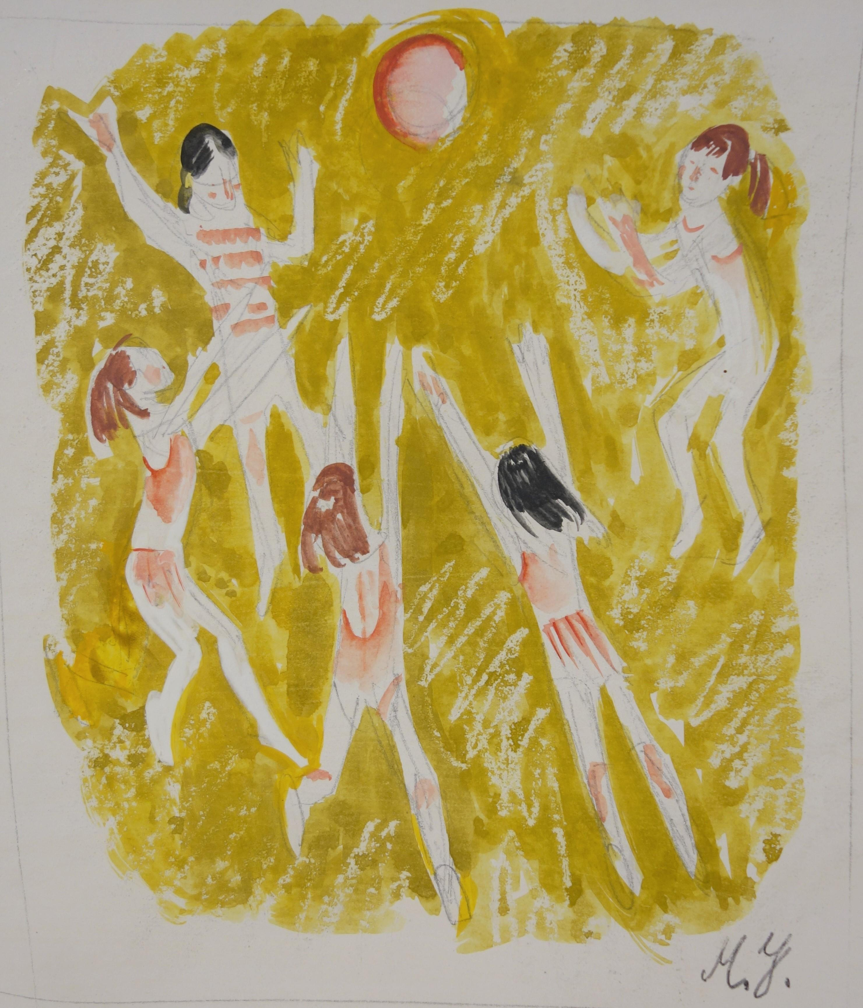 """""""volleyball""""    cm. 16 x 20 watercolor 1970"""