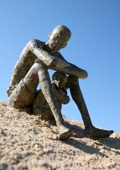 A l'ombre d'être aimée, Father and Child Bronze Sculpture