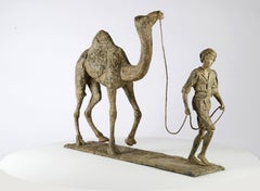 Au fil des sables, Man and Camel Bronze Sculpture