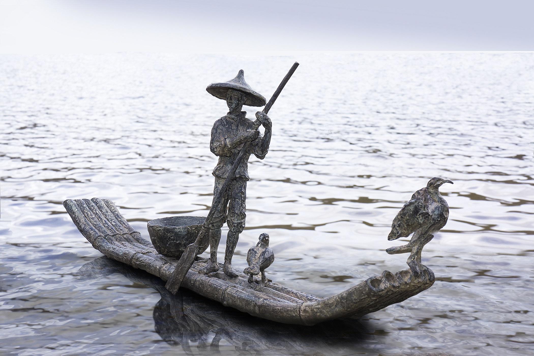 Cormorant Fishing - Bronze Sculpture