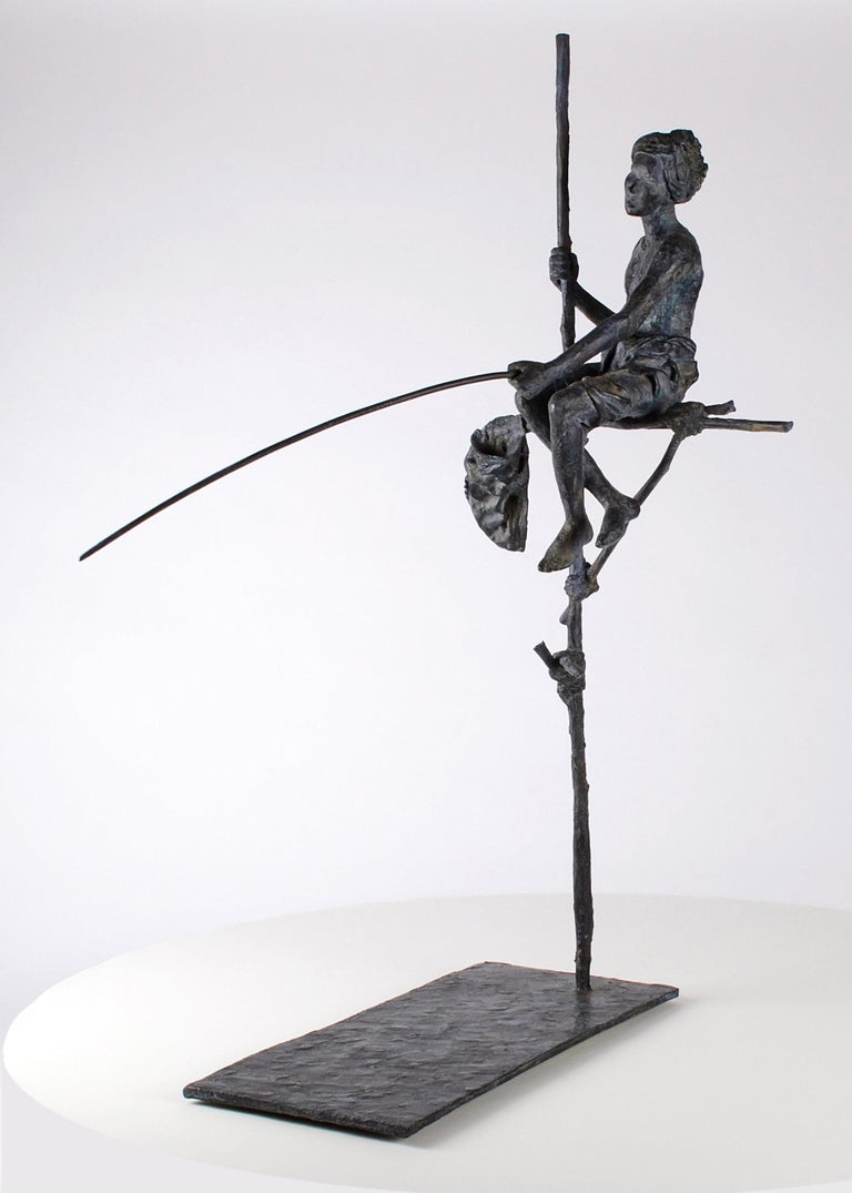 Fisherman on Stilt, Figurative Bronze Sculpture - Gold Figurative Sculpture by Marine de Soos