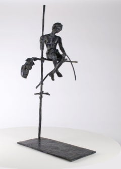 Fisherman on Stilt, Figurative Bronze Sculpture