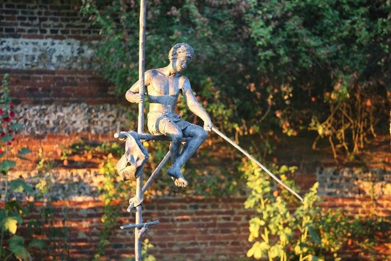 Fisherman on Stilt, Large Outdoor Bronze Sculpture For Sale 1